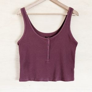 Wild Fable Mauve Ribbed Crop Tank Top Size XL